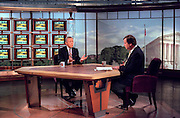 Host Tim Russert and Senator Orrin Hatch discusses recent events in the grand jury investigating the relationship between President Bill Clinton and former White House intern Monica Lewinsky during NBC's Meet the Press August 2, 1998 in Washington, DC.