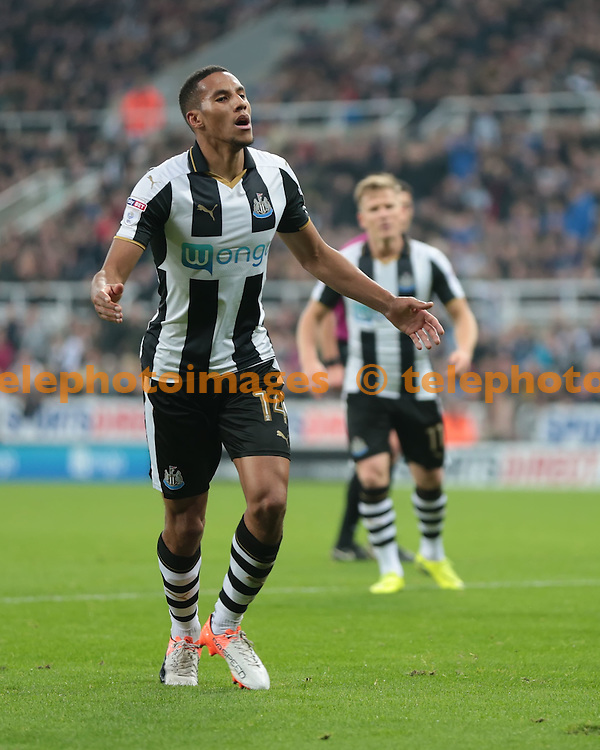 Newcastle United midfielder Isaac Hayden (14) reacts to a near miss during the EFL Cup Round Four match between Newcastle United and Preston North End at St. James' Park in Newcastle. October 25, 2016.<br /> Nigel Pitts-Drake / Telephoto Images<br /> +44 7967 642437