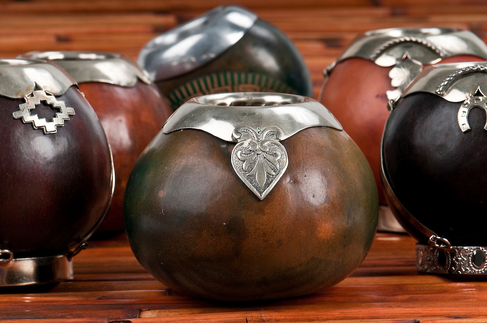 Close up of calabash cups for mate. Mate is a traditional drink very similar to tea in Argentina, Uruguay, Paraguay and some parts of Brazil.