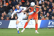 Matty Done puts in a high challenge during the EFL Sky Bet League 1 match between Luton Town and Rochdale at Kenilworth Road, Luton, England on 2 March 2019.