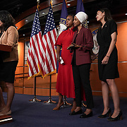 Reps. Rashida Tlaib (D-Mich.), Ayanna Pressley (D-Mass.), Ilhan Omar (D-Minn.) and Alexandria Ocasio-Cortez (D-N.Y.) are seen during a press conference on Monday, July 15, 2019 to discuss President Trump's recent tweets telling members of 'The Squad' to leave the country.