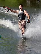 Monroe, NY - A man wake boards at Twin Lakes Water Ski area on June 1, 2008.