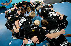 Players of Larvik celebrate after the handball match between RK Krim Mercator and Larvik HK (NOR) of Women's EHF Champions League 2011/2012, on November 13, 2011 in Arena Stozice, Ljubljana, Slovenia. Larvik defeated Krim 22-19 but both teams qualified to new round. (Photo By Vid Ponikvar / Sportida.com)