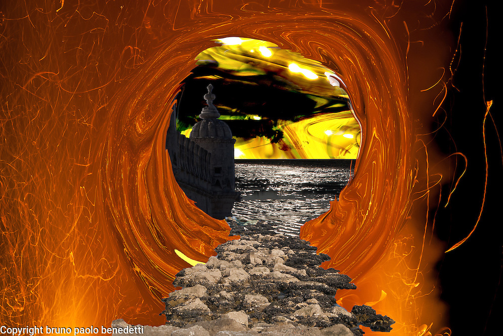 in fire storm vortex a stone bridge is the escape route to a dream landscape with gleaming colors and water on a shore, with contrast between fire and the calm and beautiful landscape.