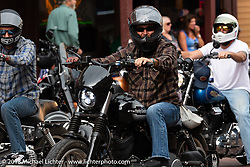 Bryan Lane riding through Deadwood during the 78th annual Sturgis Motorcycle Rally. Sturgis, SD. USA. Monday August 6, 2018. Photography ©2018 Michael Lichter.