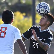 Katja Liebing/Sports Shooter Academy<br /> Santa Ana's Christian Gutierrez goes for a headwall in a conference game against Santa Ana at Santa Ana College on Friday, Nov. 4, 2016. Santa Ana won the game 3-0.