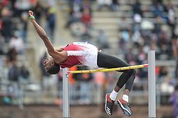 April 27, 2018 - Philadelphia, Pennsylvania, U.S - TITUS SIZEMORE (21) from Troy competes in the High Jump during the meet held in Franklin Field in Philadelphia, Pennsylvania. (Credit Image: © Amy Sanderson via ZUMA Wire)