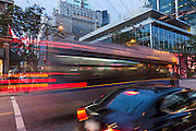Street traffic at night in the city of Vancouver, British Columbia