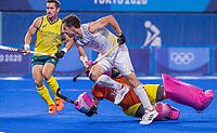 TOKIO - Florent van Aubel (Bel) passeer keeper Andrew Charter (Aus) en scoort 1-0  tijdens de hockey finale mannen, Australie-Belgie (1-1), België wint shoot outs en is Olympisch Kampioen,  in het Oi HockeyStadion,   tijdens de Olympische Spelen van Tokio 2020. COPYRIGHT KOEN SUYK