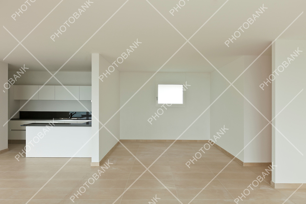 new modern apartment, wide living room interior