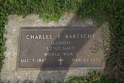 31 August 2017:   Veterans graves in Dawson Cemetery in eastern McLean County.<br /> <br /> Charles F Bartscht  Illinois  S2 US Navy  World War I  Dec 7 1897  Mar 25 1972
