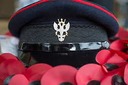 © Licensed to London News Pictures. 27/02/2016. <br /> <br /> Pictured: The hat of Regimental Sergeant Major Jason Rollins of 2 Mercian, formally The Stafford Regiment.<br /> <br /> A service has been held at The National Memorial Arboretum on Saturday 27th February 2016 to commemorate The Stafford Regiments participation in Operation Granby, a British military operation held in 1991 during the first Gulf War in which soldiers helped liberate Kuwait from Iraqi occupation ordered by Saddam Hussain.    <br /> <br /> Two Staffordshire Regiment soldiers, Private Carl Moult and Private Shaun Taylor were killed in Operation Granby.<br /> <br />  Photo credit should read Max Bryan/LNP