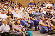 "03 JUNE 2011 - SPRINGERVILLE, AZ: People at the community meeting at Round Valley Middle School in Eager. High winds and temperatures have continued to complicate firefighters' efforts to get the Wallow fire under control. The  mandatory evacuation order for Alpine was extended to Nutrioso, about 10 miles north of Alpine and early Friday morning fire was reported on the south side of Nutrioso. The fire grew to more than 106,000 acres early Friday with zero containment. A ""Type I"" incident command team has been called in to manage the fire.  PHOTO BY JACK KURTZ"