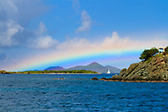 While crossing Pillsbury Sound on the car ferry from St. Thomas to St. John this low, double or triple rainbow graced our presence. Both islands are part of the US Virgin Islands in the Caribbean Sea.