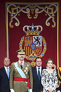 King Felipe VI of Spain, Queen Letizia of Spain attended the National Day military parade on October 12, 2016 in Madrid, Spain.