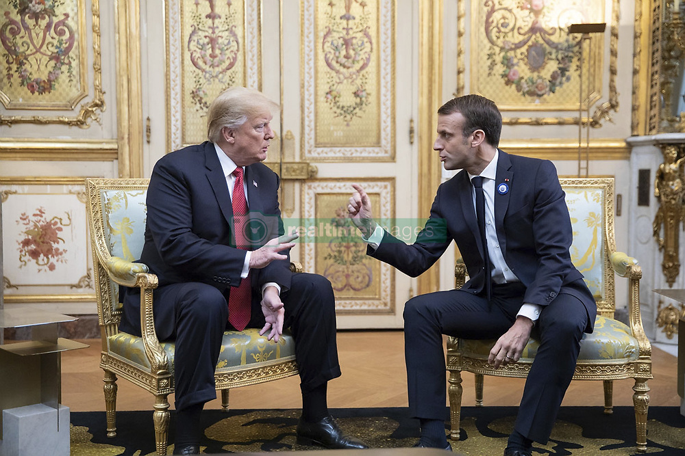 November 10, 2018 - Paris, France - U.S President Donald Trump, left, during a bilateral meeting with French President Emmanuel Macron at the Elysee Palace November 10, 2018 in Paris, France. Trump is in France for commemorations marking the Centennial of the end of World War I. (Credit Image: © Shealah Craighead via ZUMA Wire)