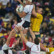 Scott LaValla, USA, wins a line out from Rocky Elsom, Australia,  during the Australia V USA, Pool C match during the IRB Rugby World Cup tournament. Wellington Stadium, Wellington, New Zealand, 23rd September 2011. Photo Tim Clayton...