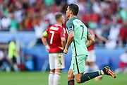 The player Cristiano Ronaldo of Portugal celebrates his goal during the match against Hungary valid for F European Championship Group 2016 in Stade des Lumières in Lyon, France, on Wednesday.