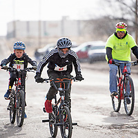 Andres Lazos leading the pack in the boys 11-12 year old age group followed closely by Aiden Metzger in the Quad Kids race, Saturday, Feb. 16 in Grants during the Mt. Taylor Winter Quadrathlon. Lazos finished the race in 3rd place with Metzger finishing 1st.