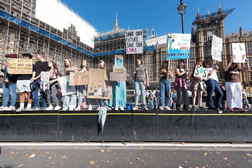 © Licensed to London News Pictures. 20/09/2019. London, UK. Climate Change protesters take part in international day of protest in Westminster calling for government to tackle climate change a priority.  Photo credit: Ray Tang/LNP