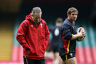 Wales coach Robert Howley and Leigh Halfpenny of Wales (r) look on during the Wales Rugby captains run, ahead of tomorrows RBS Six nations match against England. Principality Stadium, Cardiff, South Wales on Friday 10th Feb 2017.   pic by  Andrew Orchard, Andrew Orchard sports photography.