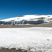 Thick fields of ice and snow on the plateau near Crater Camp (18,810) feet, just below Kibo Summit, on Mt Kilimanjaro.