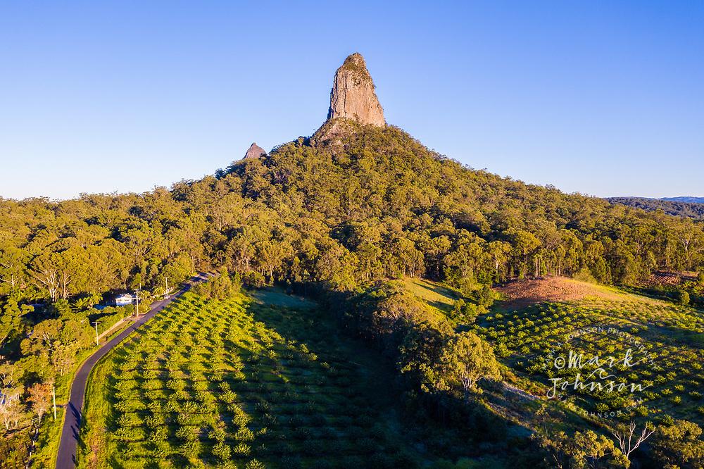 Aerial view of Mt Coonowrin, Glasshouse Mountains, Sunshine Coast, Queensland, Australia