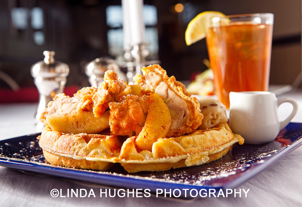 Chicken and Waffles Breakfast served with iced tea