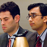 """Raj De (right) and Michael Jacobsen (left). Commission staffers present Staff Statement No. 16, """"Outline of the 9/11 Plot."""" The 9/11 Commission's 12th public hearing on """"The 9/11 Plot"""" and """"National Crisis Management"""" was held June 16-17, 2004, in Washington, DC."""
