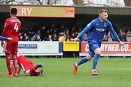 AFC Wimbledon striker Joe Pigott (39) celebrating after scoring goal to make it 1-0 during the EFL Sky Bet League 1 match between AFC Wimbledon and Accrington Stanley at the Cherry Red Records Stadium, Kingston, England on 6 April 2019.