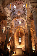 Interior of the Cappella di San Cataldo, Norman style Medievalo Church, Palermo, Sicily