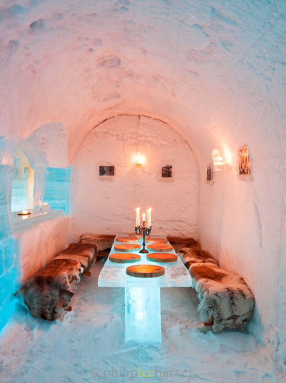 An ice dining table in an ice hotel at Alta, Finnmark region, northern Norway