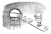 (A Soviet scientist checks off a list as animals climb two-by-two into a Sputnik satellite)