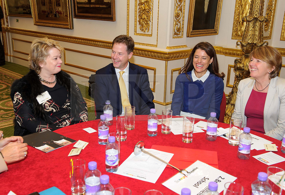 © Licensed to London News Pictures. 17/10/2013 London, UK. Deputy Prime Minister Nick Clegg at a speed networking event  at Lancaster House, London for 100 girls from state secondary schools to launch a national campaign, which will see 15,000 women going into secondary schools to speak to pupils about career choices. Participants also include Mr Clegg's wife Miriam Gonzalez Durantez. Photo credit : Simon Jacobs/LNP