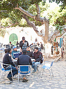 Men gathered in Market in Mahdia, Tunisia