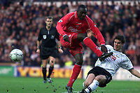 Fotball, Liverpool  Emile Heskey is tackled by Derby Chris Riggott.