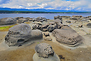 Rocky shoreline<br /> Hornby Island in the Gulf Islands<br /> British Columbia<br /> Canada