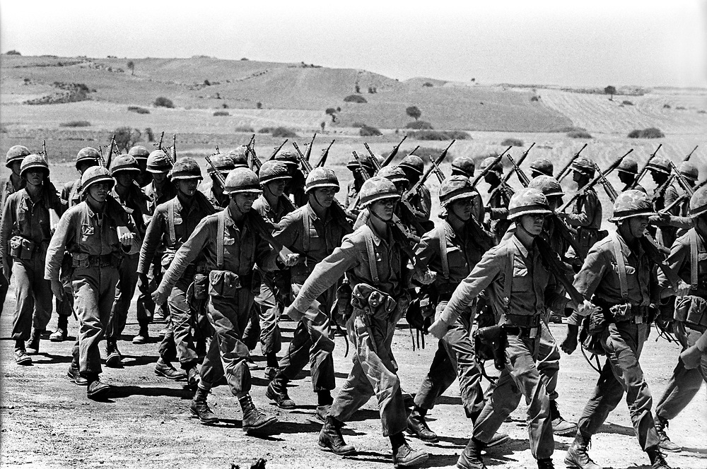 Cyprus War 20 July–18 August 1974. Turkish invasion of Cyprus code-name by Turkey, Operation Attila. Turkish soldiers practice drill days after their invasion of the island of Cyprus  July 1974. Photo by Terry Fincher.