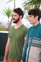 Actors Nikos Gelia and Kostas Nikouli at the photo call for the film Xenia at the 67th Cannes Film Festival, Monday 19th May 2014, Cannes, France.