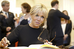 May 25, 2017 - Brussels, BELGIUM - First Lady of France Brigitte Macron pictured during a visit of the First Ladies to a shop of Belgian fashion label Delvaux, on Thursday 25 May 2017, in Brussels. US President Trump is on a two day visit to Belgium, to attend a NATO (North Atlantic Treaty Organization) summit on Thursday. BELGA PHOTO NICOLAS MAETERLINCK (Credit Image: © Nicolas Maeterlinck/Belga via ZUMA Press)
