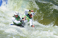 Great Britain's David Florence and Richard Hounslow competing in the c2 class. ICF Canoe slalom world cup at the Cardiff white water centre in Cardiff, South Wales on Saturday 9th June 2012.  pic by Andrew Orchard, Andrew Orchard sports photography,