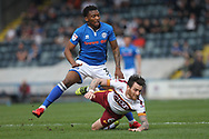 Kgosi Nthle wins the ball during the EFL Sky Bet League 1 match between Rochdale and Bradford City at Spotland, Rochdale, England on 21 April 2018. Picture by Daniel Youngs.