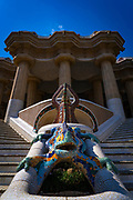 El Drac - or the salamander, Parc Guell, Barcelona, Catalonia, Spain. A public park design by famed Catalan architect Antoni Gaudi featuring gardens and architectural curiosities.