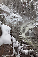 Firehole Falls in winter in Yellowstone National Park