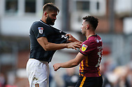An ltercation between Bradford City's Zeli Ismail(11) and Jordan Turnbull of Northampton Town   during the EFL Sky Bet League 2 match between Bradford City and Northampton Town at the Utilita Energy Stadium, Bradford, England on 7 September 2019.