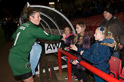 Bristol Academy Womens' Mary Earps speaks with young fans after the game - Photo mandatory by-line: Dougie Allward/JMP - Mobile: 07966 386802 - 13/11/2014 - SPORT - Football - Bristol - Ashton Gate - Bristol Academy Womens FC v FC Barcelona - Women's Champions League