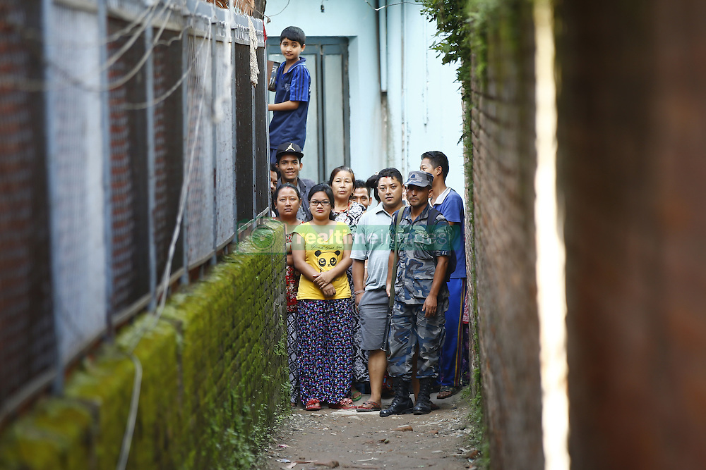 September 20, 2016 - Kathmandu, Nepal - Nepalese people gather near the site where the bomb was placed at Kanchanjunga School in Dallu, Kathmandu, Nepal on Tuesday, September 20, 2016. Improvised explosive devices were placed in 7 schools as 2 bombs exploded. No human casualties have been reported in the explosions. (Credit Image: © Skanda Gautam via ZUMA Wire)