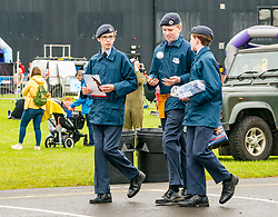 Pictured: Scotland's National Airshow, East Fortune, East Lothian, Scotland, United Kingdom, 27 July 2019 . A packed programme of aircraft old and new planned to take to the skies for the aerial display was marred by poor weather at airfields around the country which meant that many of the promised flights were unable to perform. RAF cadets.<br /> Sally Anderson | EdinburghElitemedia.co.uk