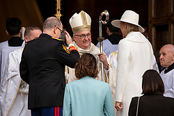 HSH the Prince Albert II of Monaco, HSH the Princess Charlene of Monaco, HRH Princess Caroline of Hanover, The Princess Stephanie of Monaco are arriving to St Nicholas Cathedral before the solemn mass celebrated by the arcibishop Bernard Barsi, during the National Day ceremonies, Monaco Ville (Principality of Monaco), on November 19, 2019. Photo by Marco Piovanotto/ABACAPRESS.COM