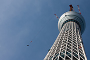 cranes on the Tokyo Skytree under construction in Oshiage, Tokyo, Japan. Wednesday, December 29th 2010 When finished this telecommunications tower will measure 634 metres from top to bottom making it the tallest structure in East Asia..